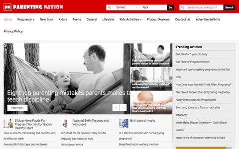 Screenshot of Home Page parentingnation.in - Parenting Tips, Pregnancy Care, Parenting Advice - Parenting Nation India - captured Feb. 3, 2020