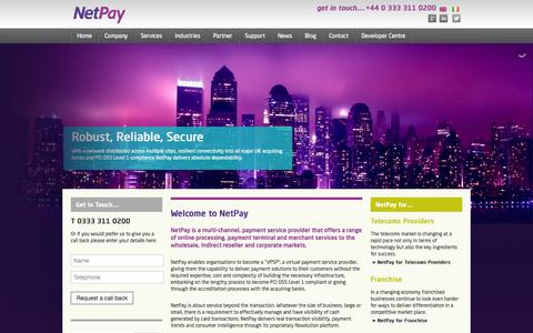 Screenshot of Home Page netpay.co.uk - NetPay – Wholesale, Reseller and Corporate card payment solutions - captured Oct. 7, 2014