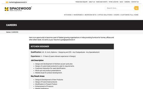 Screenshot of Jobs Page spacewood.in - CAREERS - Modular Kitchens, Wardrobes, Living Room, Bedroom Interior Designers - Spacewood.in - Spacewood - captured Sept. 23, 2018