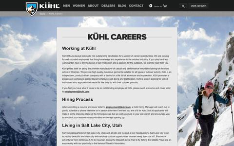 Screenshot of Jobs Page kuhl.com - Kuhl Clothing Official Online Store | Born in the Mountains - captured Sept. 24, 2014