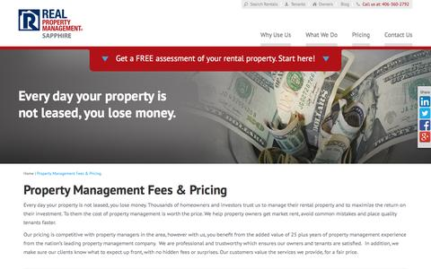 Screenshot of Pricing Page rpmsapphire.com - Property Management Fees Hamilton MT | Real Property Management - captured Feb. 14, 2016