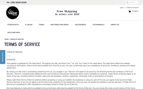 Terms of Service | The Vape Store