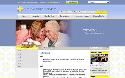 Screenshot of Testimonials Page catholichealthservices.org - Testimonials of Patients and Visitors of Catholic Health Services - captured Jan. 26, 2016