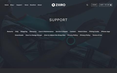 Screenshot of Support Page ziiiro.com - Support – ZIIIRO - captured Sept. 30, 2017