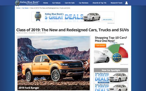 Screenshot of Contact Page kbb.com - Class of 2019: The New and Redesigned Cars, Trucks and SUVs | Kelley Blue Book - captured Nov. 20, 2018