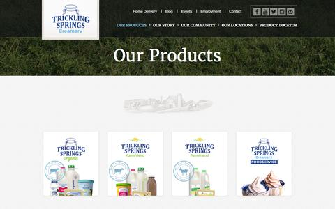 Screenshot of Products Page tricklingspringscreamery.com - Our Products | Trickling Springs Creamery : Premium Organic and non GMO Dairy Products - captured July 9, 2016