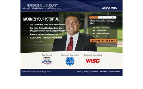 Screenshot of Landing Page pepperdine.edu - | Online MBA | Pepperdine - captured Oct. 27, 2014