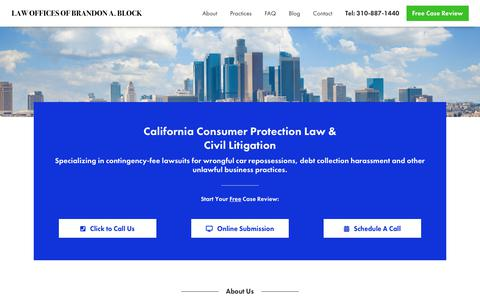Screenshot of Home Page bblocklaw.com - California Consumer Protection Law - Car Repossession and Debt Collection Harassment Attorney - captured Nov. 10, 2018