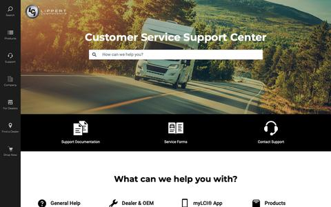 Screenshot of Support Page lci1.com - Customer Service Center | Lippert Customer Support - captured May 24, 2019