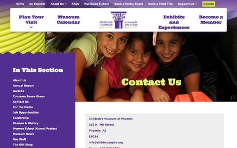 Screenshot of Contact Page childrensmuseumofphoenix.org - Children's Museum of Phoenix   Kids Museum Phoenix, Things to do in Phoenix with Kids - captured Nov. 23, 2015