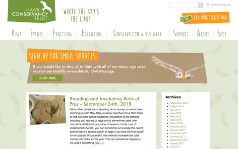 Screenshot of Press Page hawk-conservancy.org - Hawk Conservancy Trust - - captured Sept. 27, 2018