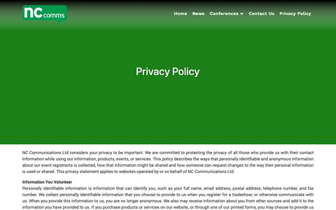 Screenshot of Privacy Page nccomms.com - Privacy Policy - NC Communications - captured Oct. 12, 2018