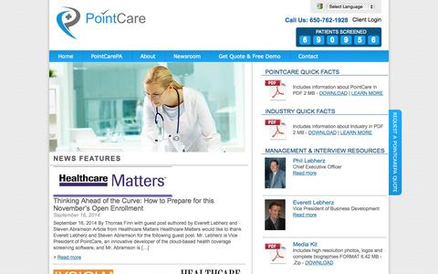 Screenshot of Press Page pointcare.com - Newsroom - PointCare - captured Oct. 28, 2014
