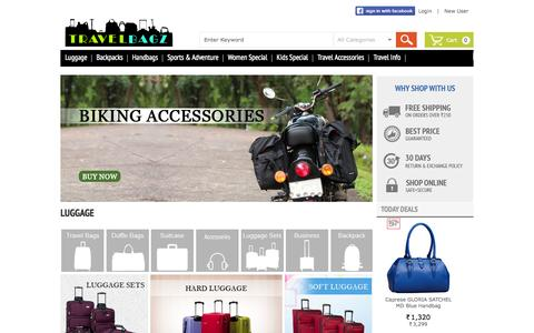 Screenshot of Home Page shopuli.com - Online Shopping India - Travel Luggage, Backpacks, Laptop Bags, Hiking & Camping Accessories Coupons online | Shopuli.com - captured Oct. 4, 2014