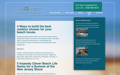 Screenshot of Press Page h2oceans2.com - Your NJ Shore Architect Team: News for Your NJ Shore Home - captured Oct. 1, 2014
