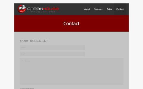 Screenshot of Contact Page creekhouseproductions.com - Charleston, SC Videography   Creekhouse Productions - captured Jan. 22, 2016