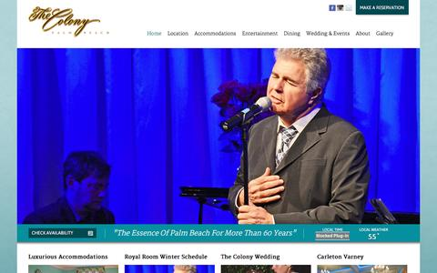 Screenshot of Home Page thecolonypalmbeach.com - Official Website of The Colony Hotel   Palm BeachOfficial Website of The Colony Hotel   Palm Beach - captured Jan. 29, 2016