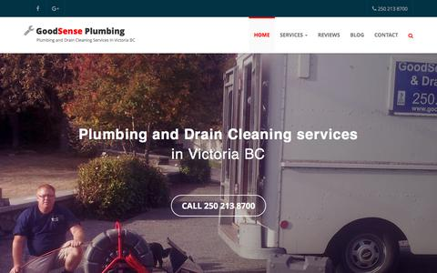 Screenshot of Home Page goodsenseplumbing.ca - GoodSense Plumbing & Drain Cleaning in Victoria BC - captured Feb. 17, 2018