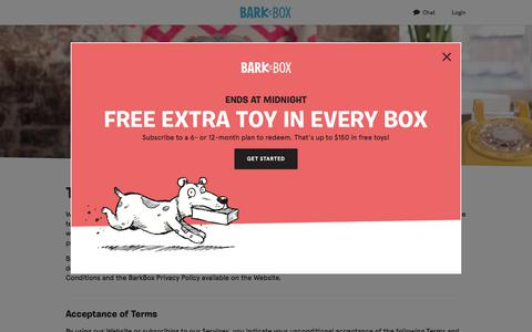 Screenshot of Terms Page barkbox.com - Dog Toys, Treats & Gifts Every Month | BarkBox - captured Oct. 27, 2017
