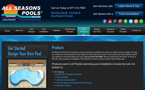 Screenshot of Products Page allseasonspools.com - Swimming Pool Products Orlando, - captured Sept. 30, 2014