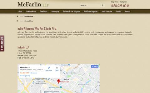 Screenshot of Maps & Directions Page mcfarlinlaw.com - McFarlin LLP | 4 Park Plaza Suite 1025 Irvine, CA 92614McFarlin LLP - captured Oct. 17, 2018