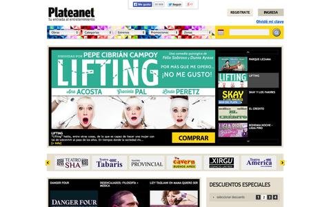 Screenshot of Home Page Site Map Page plateanet.com - Plateanet. Entradas para teatro en Buenos Aires - captured Sept. 19, 2014