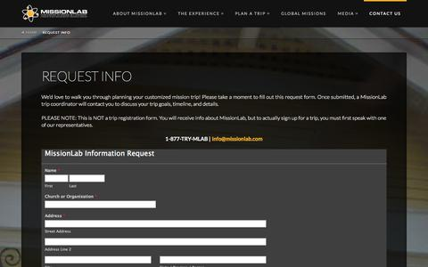 Screenshot of Contact Page missionlab.com - Request Info | Missionlab - captured Oct. 9, 2014