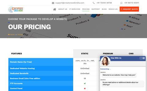 Screenshot of Pricing Page creatorswebindia.com - Affordable Web Design Packages   Cheap Web Design Company Chennai - captured Nov. 5, 2018