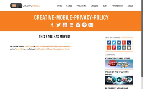 Screenshot of Privacy Page creative-mobile.com - creative-mobile-privacy-policy - Creative Mobile - captured Oct. 1, 2015