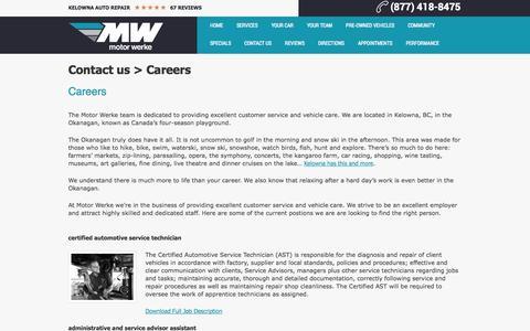 Screenshot of Jobs Page motorwerke.ca - Careers - captured Oct. 26, 2014