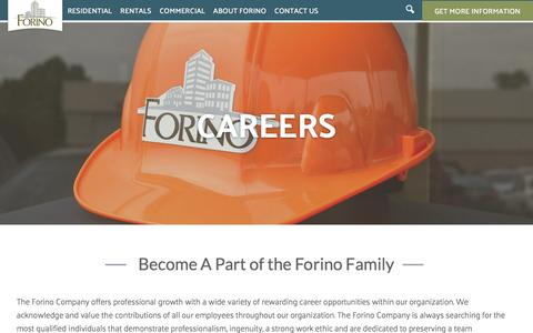 Screenshot of Jobs Page forino.com - Careers | Forino - captured Feb. 10, 2016