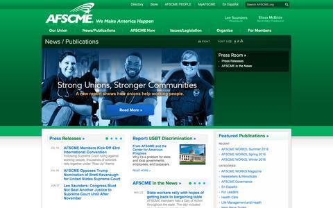 Screenshot of Press Page afscme.org - AFSCME | News / Publications - captured July 28, 2018