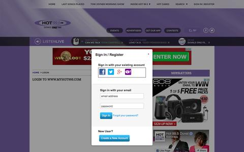 Screenshot of Signup Page myhot995.com - HOT 99.5 - Duval's Only R&B | HOT 99.5 - captured Feb. 9, 2017