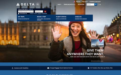 Screenshot of Home Page delta.com - Airline Tickets and Flights to Worldwide Destinations : Delta Air Lines - captured Dec. 11, 2015
