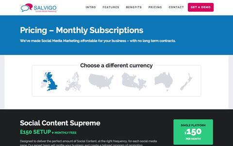 Screenshot of Pricing Page salvigo-social.co.uk - » Pricing - captured Sept. 30, 2014