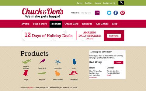 Screenshot of Products Page chuckanddons.com - Products Archive - Chuck & Don's - captured Dec. 2, 2015