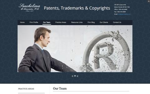 Screenshot of Team Page sanchelima.com - Intellectual Property Lawyers | Sanchelima Law Firm - captured Oct. 4, 2014