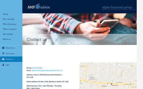Screenshot of Contact Page amp.com.au - Contact Us - Alpha Financial Group - captured Aug. 26, 2017