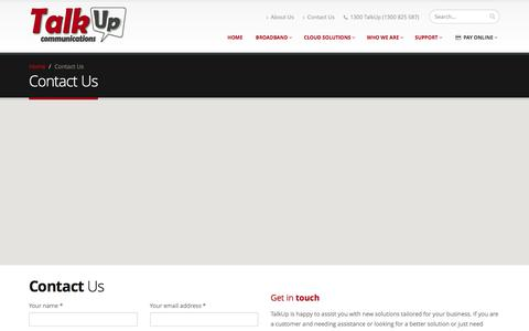 Screenshot of Contact Page talkup.com.au - Contact Us | TalkUp Communications - Business Grade VoIP for SMB - Cloud Services - captured Feb. 23, 2016