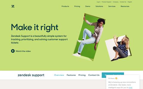Screenshot of Products Page zendesk.com - Customer Service & Ticket Software with Zendesk Support - captured Oct. 26, 2017