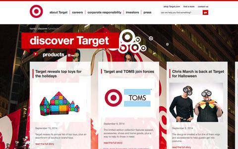 Screenshot of Products Page target.com - products: Discover Target: Articles & Events | Target Corporate - captured Sept. 19, 2014