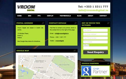 Screenshot of Contact Page vroomseo.ie - SEO Company, Dublin, Ireland   Contact us - Vroom Digital - captured Oct. 26, 2014