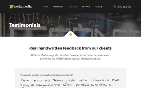 Screenshot of Testimonials Page excitemedia.com.au - What Our Clients Say - captured Jan. 17, 2020