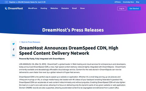 Screenshot of Press Page dreamhost.com - DreamHost Announces DreamSpeed CDN, High Speed Content Delivery Network  – DreamHost - captured Feb. 21, 2020
