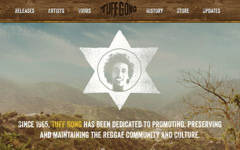 Screenshot of Home Page tuffgongworldwide.com - Tuff Gong Worldwide | Since 1965, Tuff Gong has been dedicated to promoting, preserving and maintaining the reggae community and culture. - captured Oct. 1, 2014