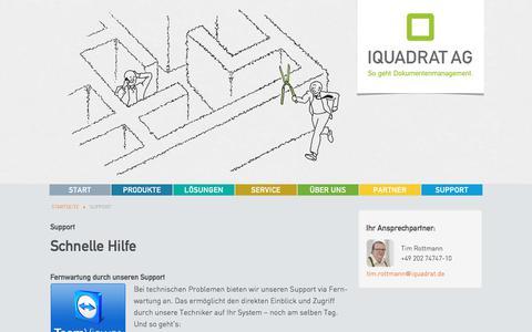 Screenshot of Support Page iquadrat.de - IQUADRAT AG - Support - captured Oct. 4, 2017