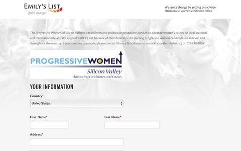 Screenshot of Landing Page emilyslist.org - EMILY's List  |  Contribute to EMILY's List! - captured April 27, 2017