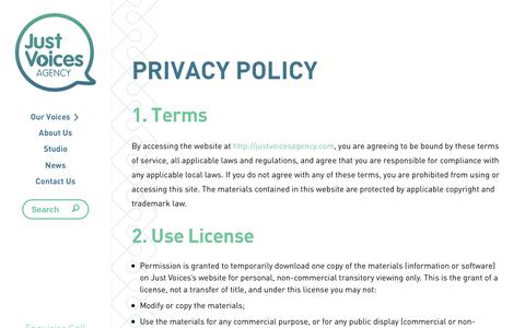 Screenshot of Privacy Page justvoicesagency.com - Privacy Policy - Just Voices Agency - captured Sept. 20, 2018