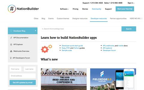 Screenshot of Developers Page nationbuilder.com - NationBuilder Developers - captured March 20, 2018