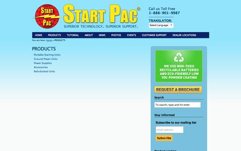 Screenshot of Products Page startpac.com - PRODUCTS | Start Pac - captured Sept. 30, 2014